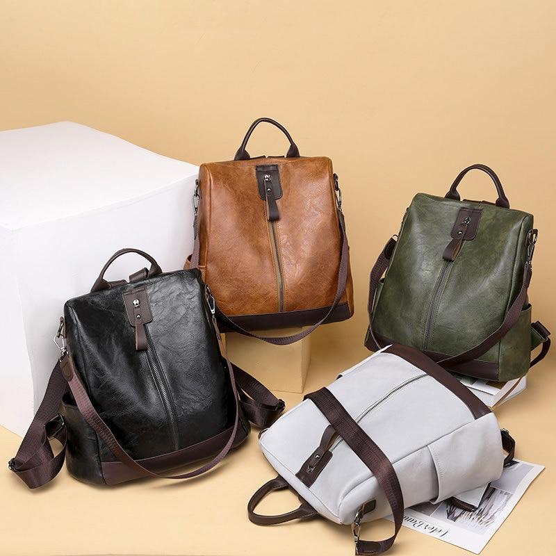 حقيبة ظهر جلدية متعددة الوظائف للنساء ، حقيبة مدرسية كبيرة السعة للبنات ، أزياء نسائية ، Mochila ، 2020