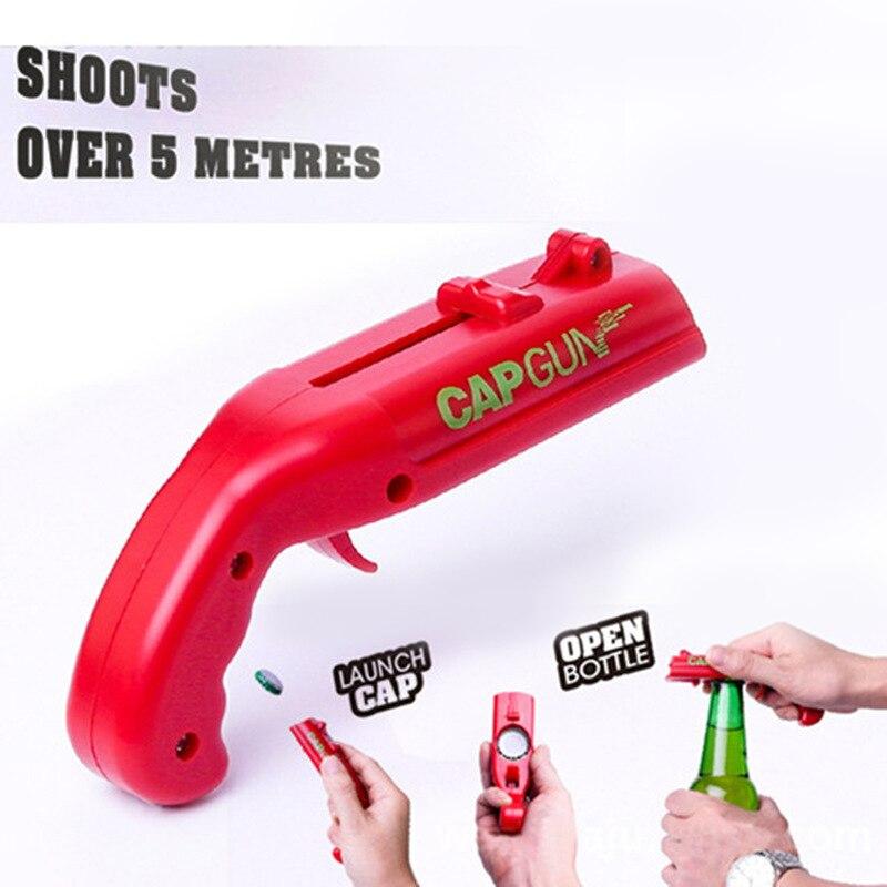 Portable Beer Gun Creative Flying Cap Gun Bottle Beer Opener Drink Cap Launcher Shaped Bottle Lids Shooter Red Gray Bar Tool