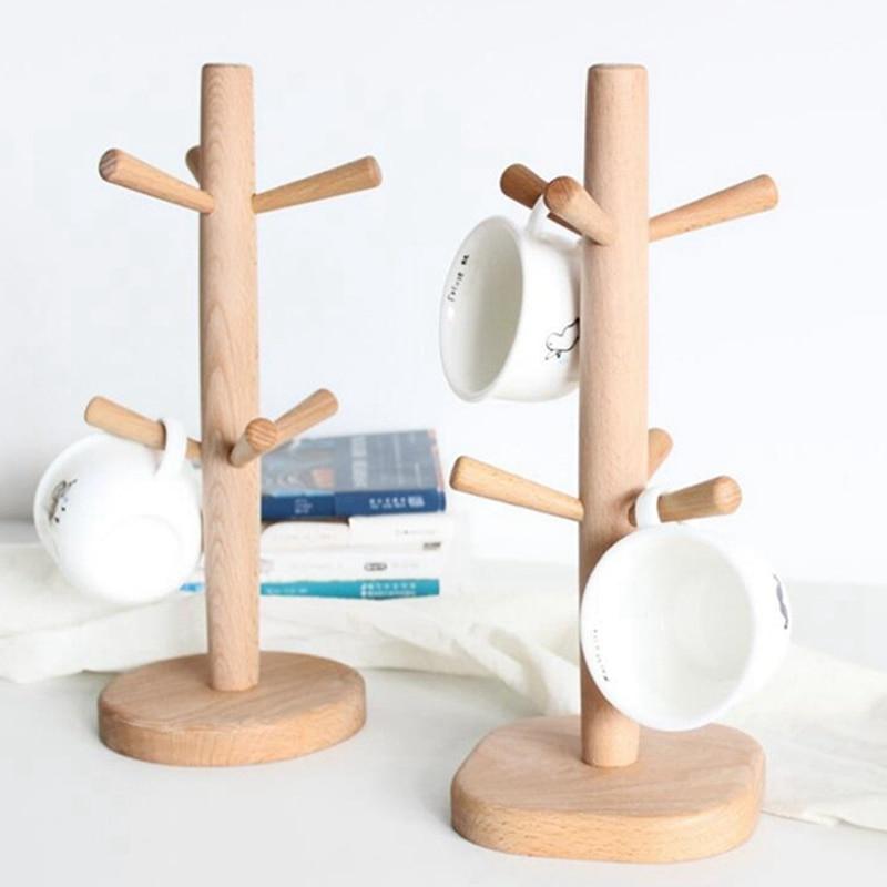 Wooden Coffee Cup Holder Beech Wood Tree Stand Rack 6 Cup Mug Holder Countertop Pantry Stands Mug Shelves Hanger Kitchen Display