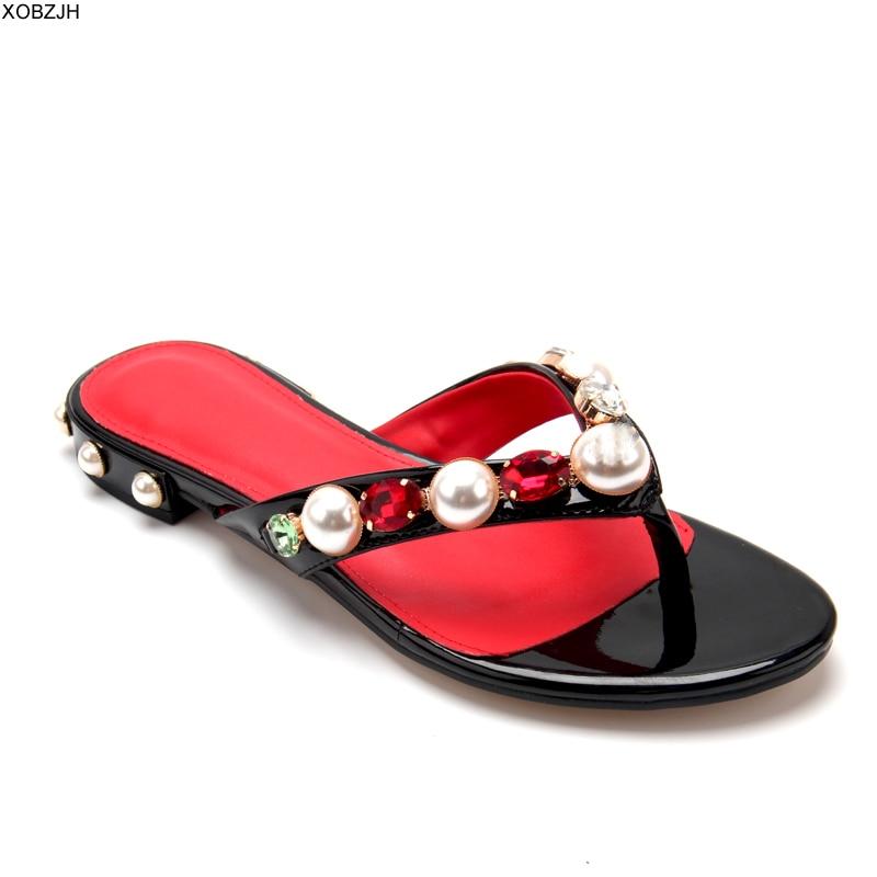 Women Flat Sandals Summer Shoes 2019 Brand Slip On Luxury Flip Flops Sandals Mature Ladies Black Slippers Designer Shoes Woman