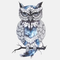 personalized hand painted blue owl car sticker fashion pvc bumper decoration accessories motorcycle waterproof decal 1710cm