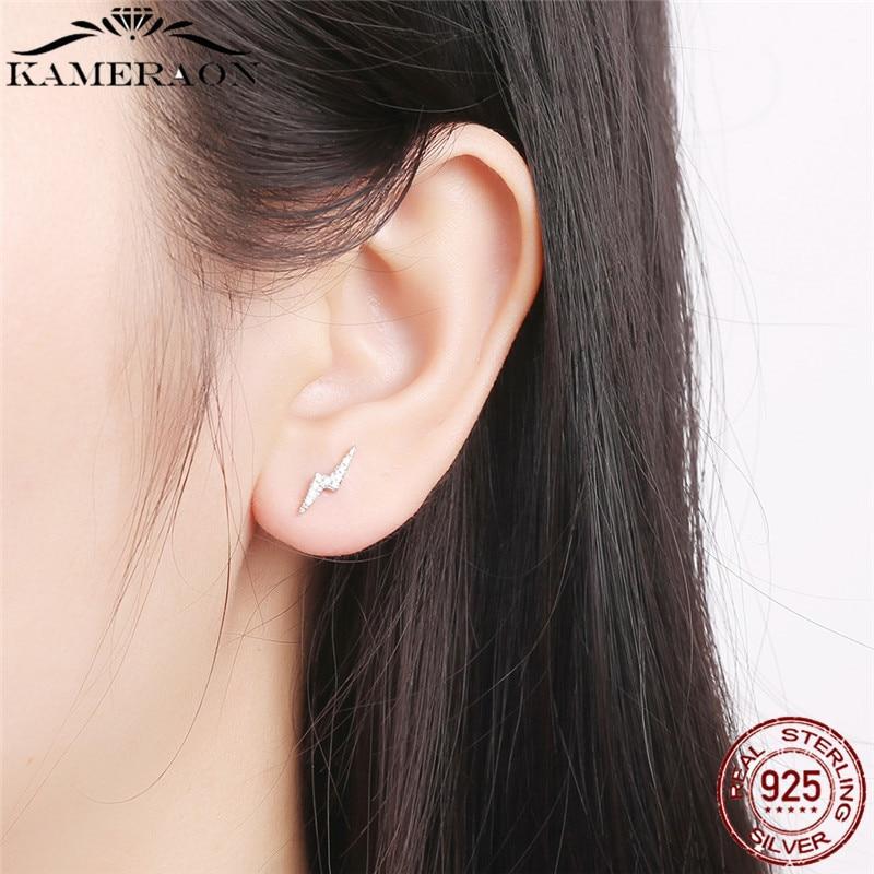 Silver Earrings 925 Sterling Silver Dazzling Femme Lightning & Clear CZ Stud Earrings for Women Fine Jewelry Brincos