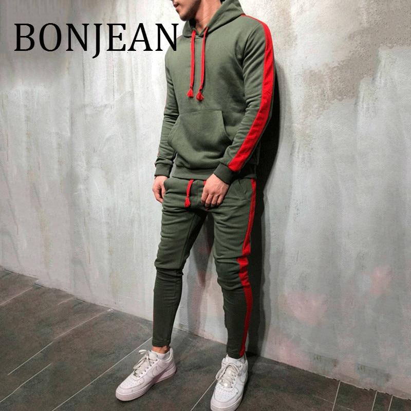 Bonjean 2 peças define agasalho 2018 outono inverno com capuz moletom + calças com cordão masculino listra retalhos streetwear bj1917