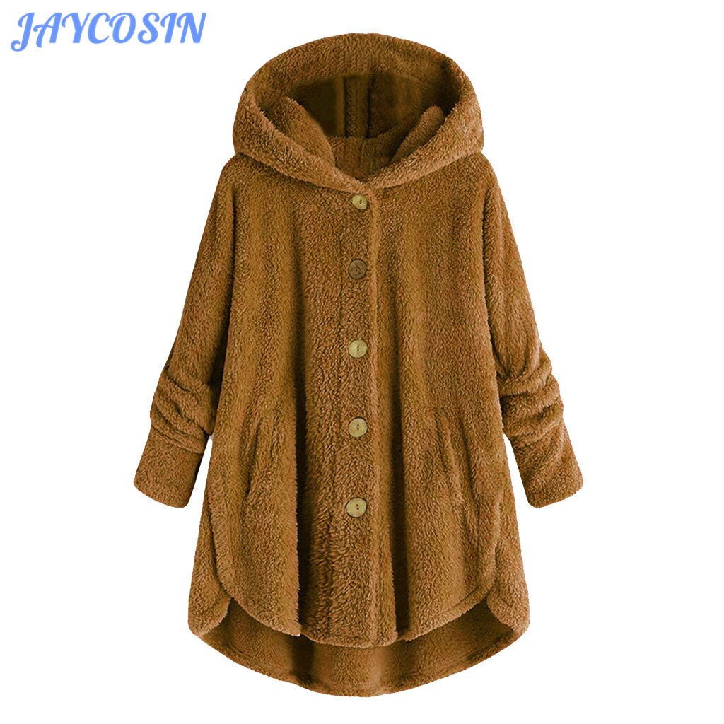 JAYCOSIN Clothes Women Winter Warm Plus Size Plush Hooded Coat Female Casual Loose Wool Cardigan Feminino Jacket Coat Girl 1015
