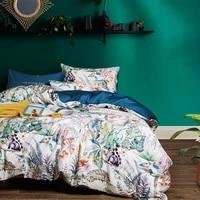 4pcs bedding set plant printed egyptian cotton silky soft duvet cover us queen size 200x230cm bedlinen xf1032 3