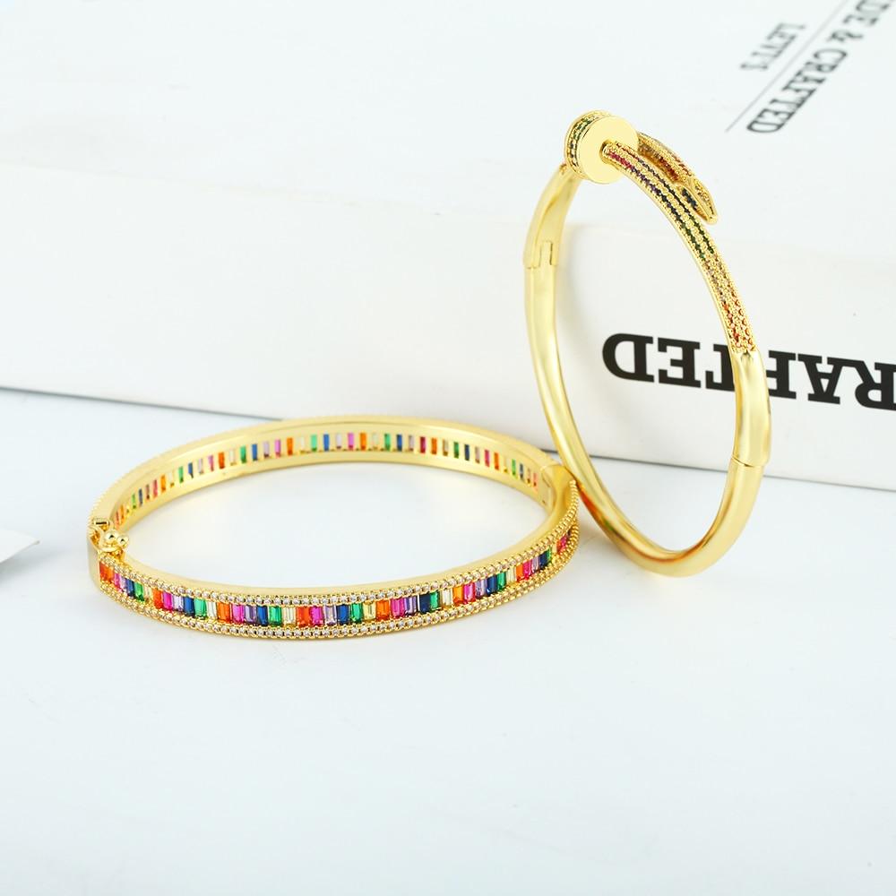 Luxury Gold Women's Bangles Bracelets Crystal Zirconia Copper Adjustable Open Nail Bangle Bracelet S
