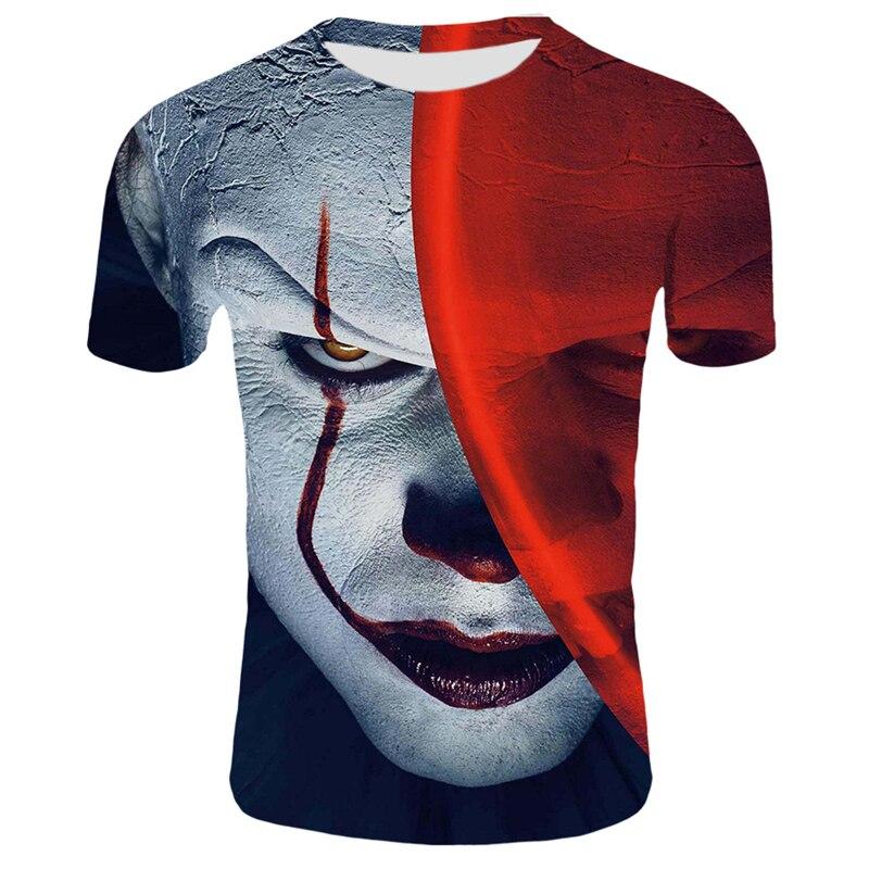 סרט אימה זה ליצן חולצת טי גברים/נשים היפ הופ Streetwear טי מגניב בגדי גבר חולצות ג 'וקר 3D הדפסת T חולצה 2XS-4XL