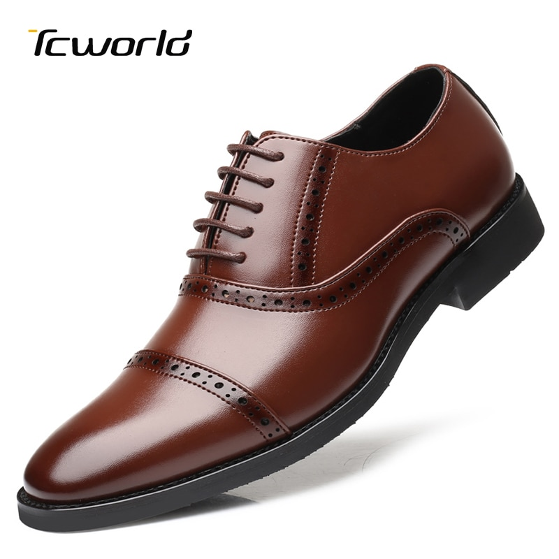 Zapato Social Elgant, zapatos formales de hombre, vestido de hombre de negocios Oxford, calzado Social para hombre, zapatos de cuero marrón clásicos para otoño