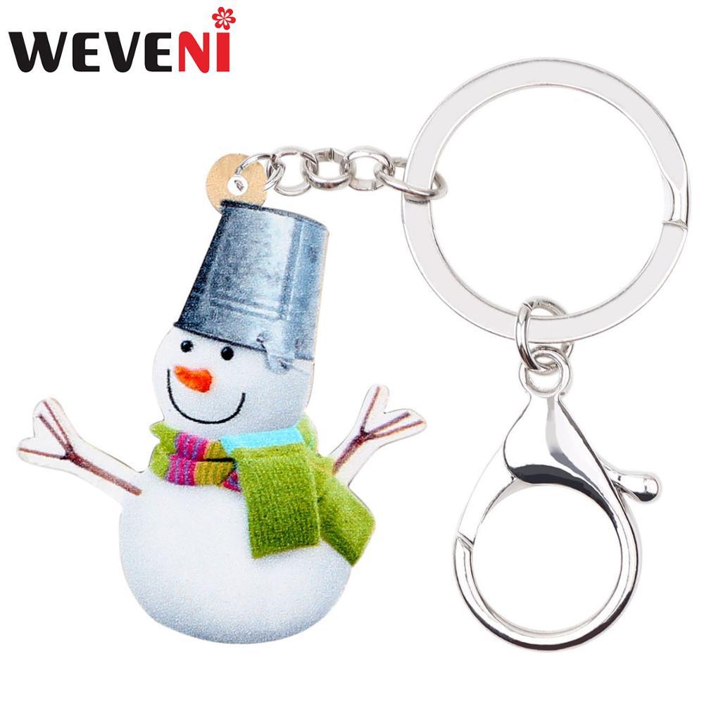 WEVENI акриловый Рождественский шарф, шляпа-ведро, снеговик, брелок для ключей, кольцо, подвески, подарок, ювелирные изделия для девочек, Женска...