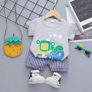Boys Summer Clothes Fashion T-shirt+stripe Shorts 2pcs Kids Boys Tracksuit For Baby Outfits  Bebes Tracksuit Infant Newborn Set