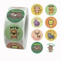 100 500 pcs 1 inch 8 cute animal patterns labels stickers for child gift card party wedding gift packaging small business