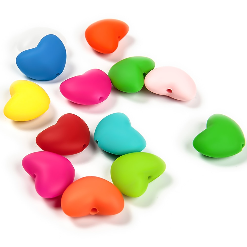 AliExpress - Cute-idea 10pcs Heart Silicone Beads Pacifier Clip BPA Free DIY for Baby produce chewing Teether Food Grade Dental Care Toys
