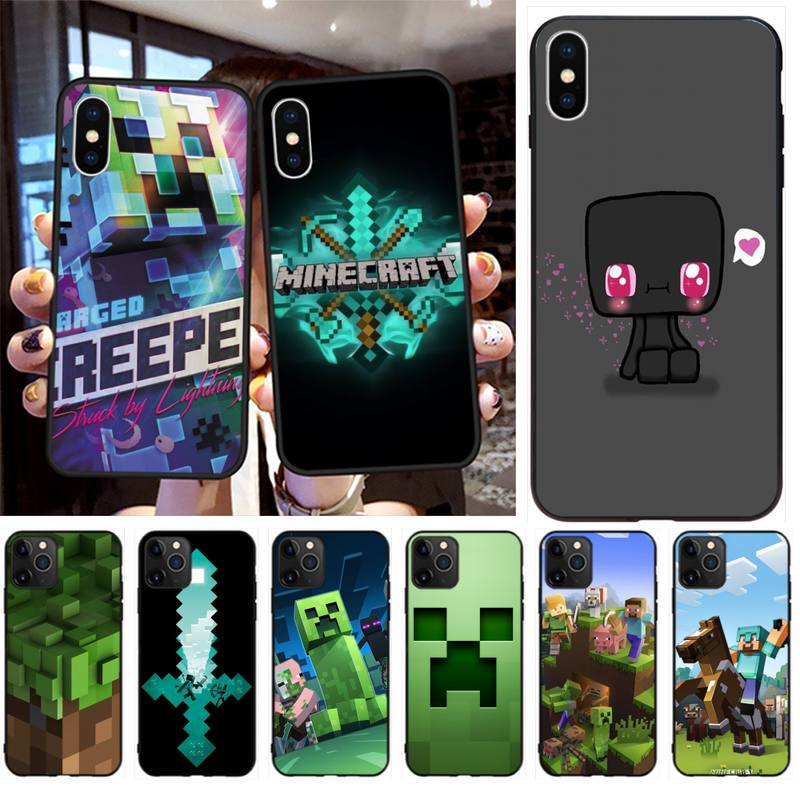 Sandbox jogo mini mundo preto caso de telefone celular para iphone 11 pro xs max 8 7 6s plus x 5S se 2020 xr