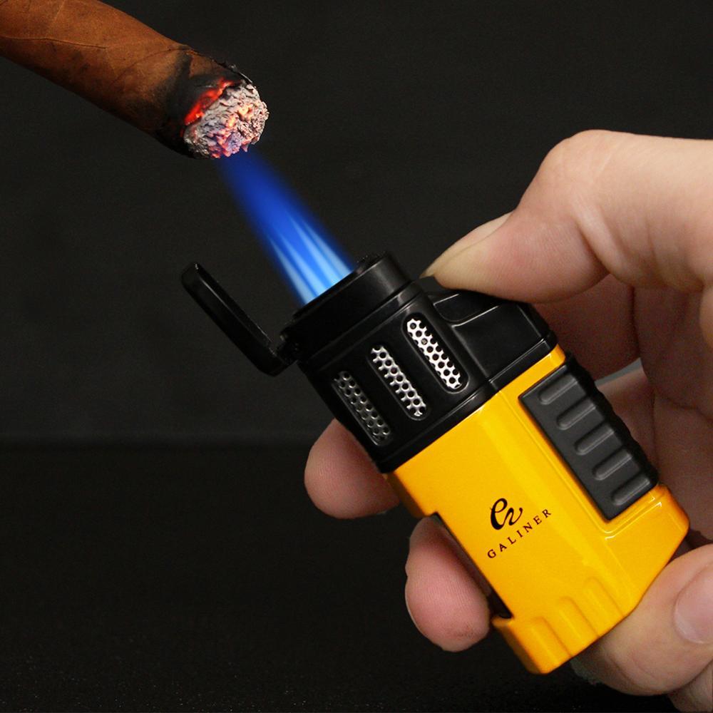 Butane Gas Lighter Tobacco Windproof 4 Jet Blue Flame Torch Cigarette Lighters Smoking Metal Pocket