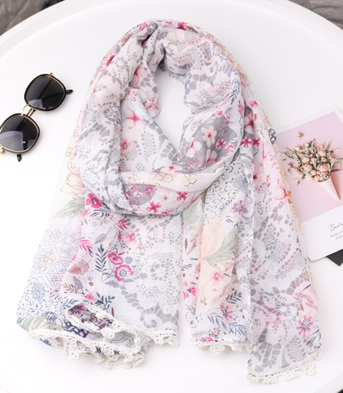 2020 Fashion Small Flower Print Gold Foil Trim Scarves Shawls Long Women Soft Floral Wrap Scarf Hijab Free Shipping