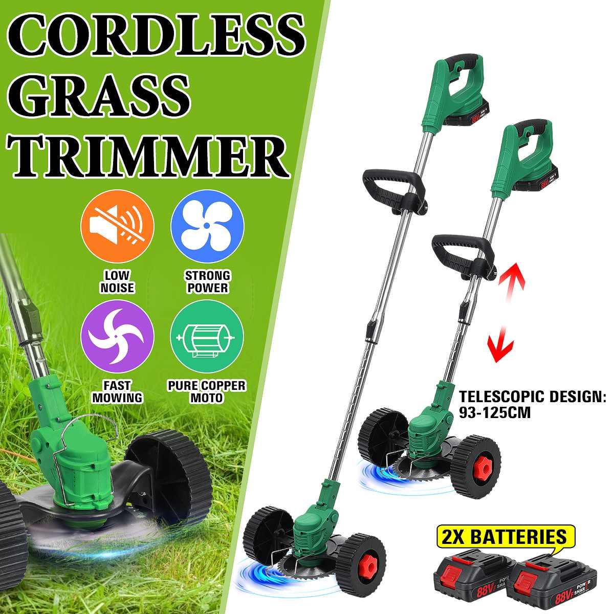اللاسلكي جزازة العشب الكهربائية قابل للتعديل عجلة مزدوجة قابل للتعديل الكهربائية العشب المتقلب حديقة القاطع أداة للبطارية ماكيتا