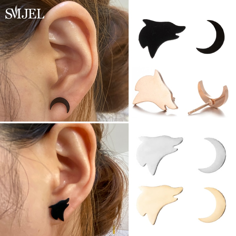 Design Wolf Howling at the Moon Earrings for Women Stainless Steel Asymmetrical Ear Studs Animal Tee