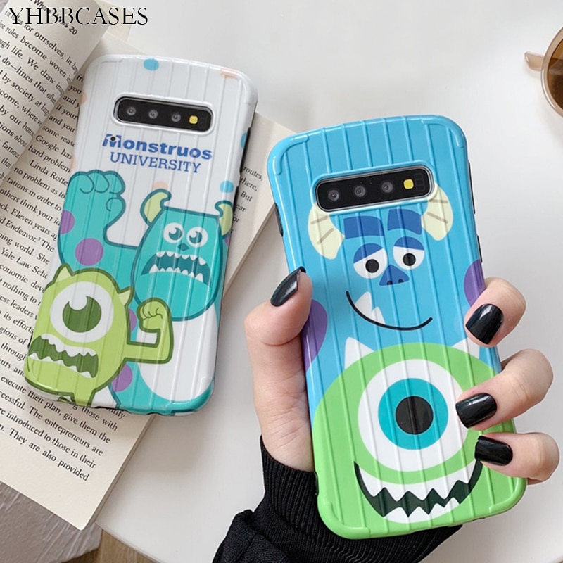 Casos YHBBCASES Monstro Dos Desenhos Animados Suave Para Samsung Galaxy S10 Plus S8 S9 Moda 3D Bagagem Projeto Capa Para Samsung Nota 10 8 9