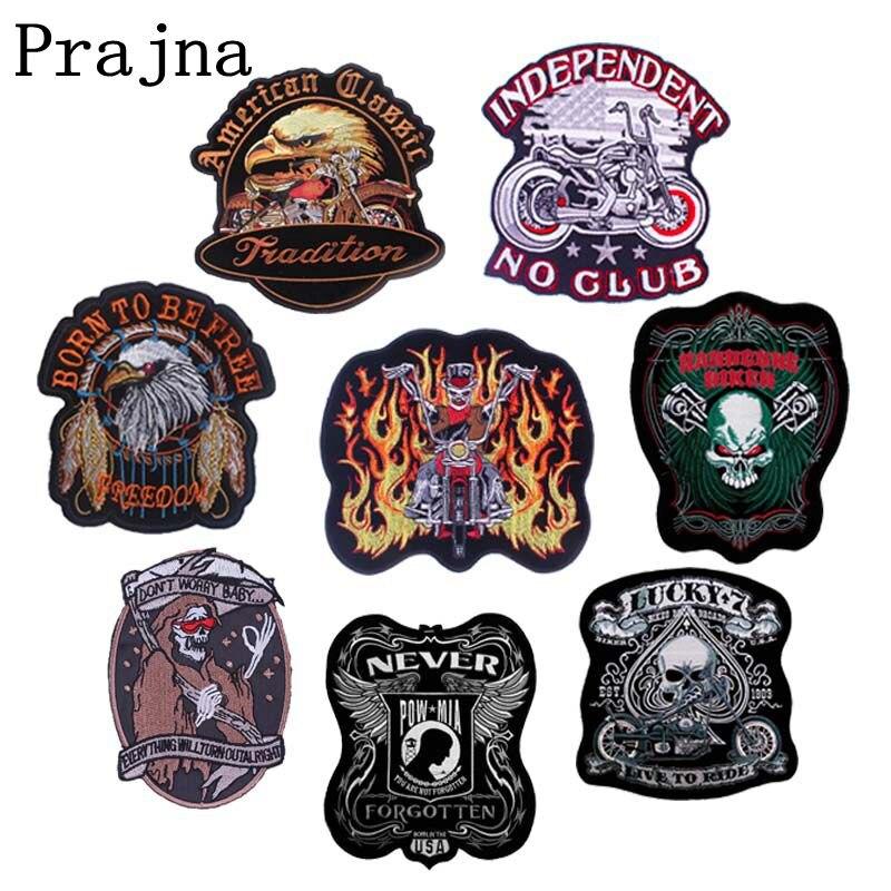 Parche Prajna Punk para motocicleta, parches de planchar en la ropa, parches bordados para ropa DIY, insignias de rayas de Calavera, apliques de tela