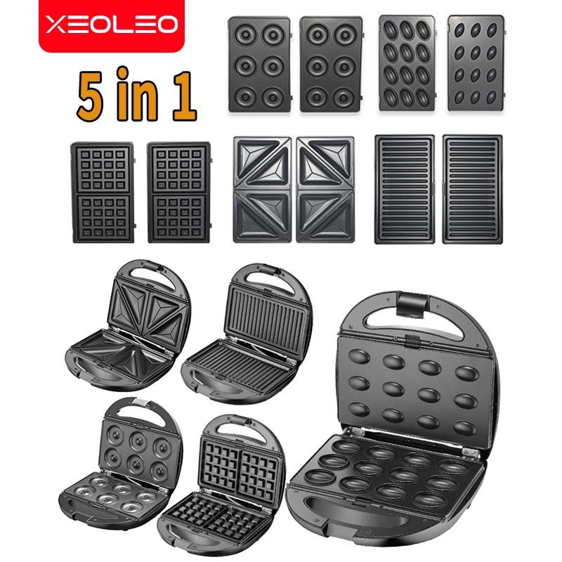 XEOLEO 5 في 1 صانع الوافل الكهربائية صانع الساندوتشات جهاز عمل الفقاعات البيتزا/دونات/بانيني آلة المطبخ غير عصا
