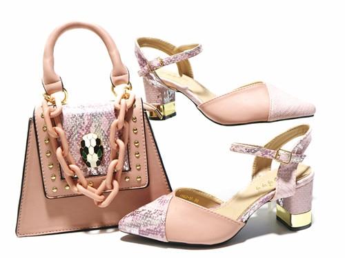 Doershow-مجموعة أحذية وحقائب إيطالية ، أحذية نسائية وحقائب نسائية ، أحذية إيطالية ، لون وردي ، مع حقائب مطابقة ، 2020 HAL1-4