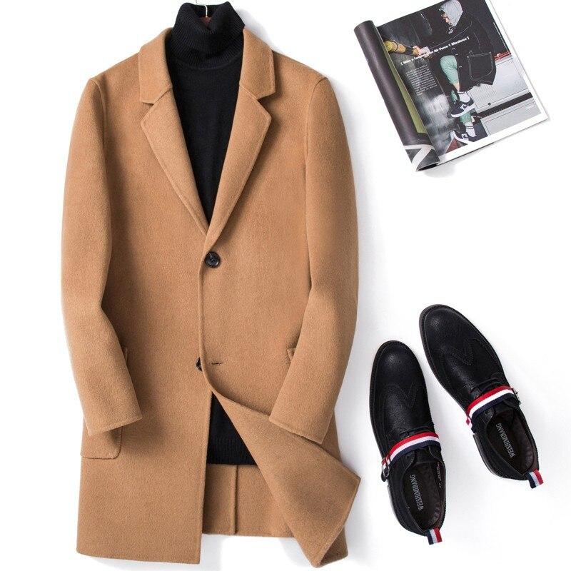Abrigo largo de lana de doble cara para hombre, chaqueta ajustada coreana,...