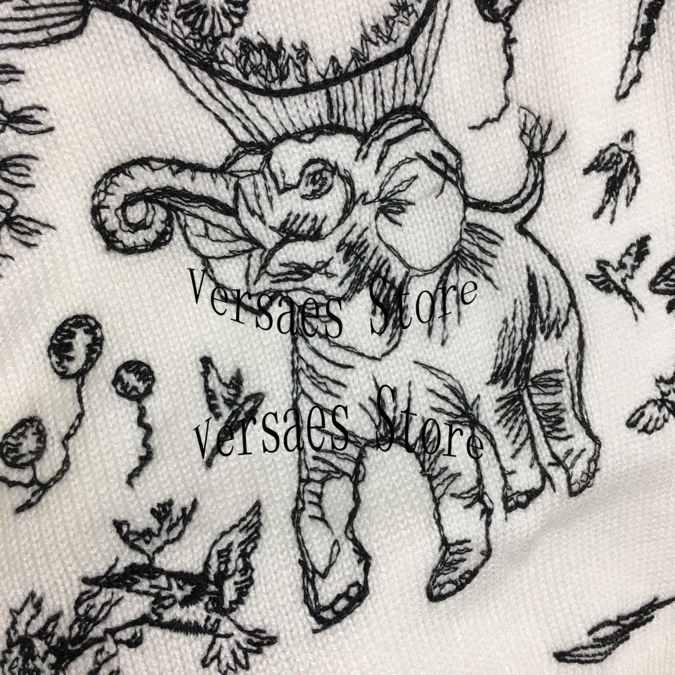 luxury design fashion elephant hot air balloon embroidery knitted sweater temperament round neck long sleeve Pullover Sweater enlarge