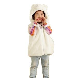 DOUBCHOW Cute Clothing Cosplay Costume Children's Cartoon White Bear Pattern Warm Hooded Kids Kawaii Plush Outwear Vest Coat