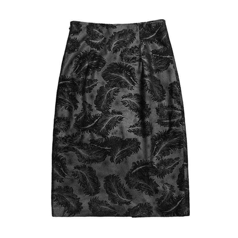 Women's Sheepskin Leather Skirt Fashion Feather Pattern 2021 New Lady Genuine Leather Skirts TF8502