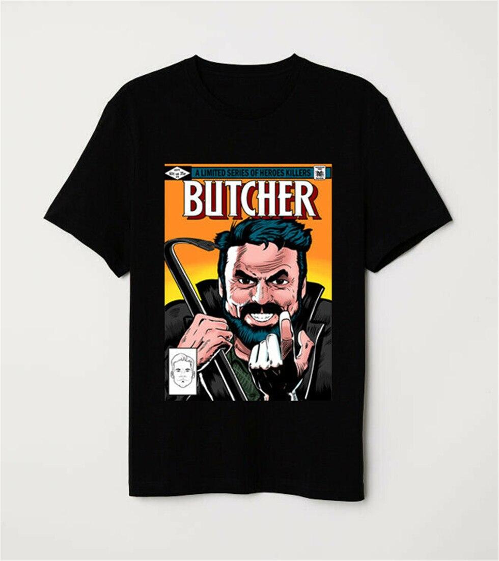 Camiseta negra parodia cubierta cómica del asesino de los siete héroes del carnicero de los chicos