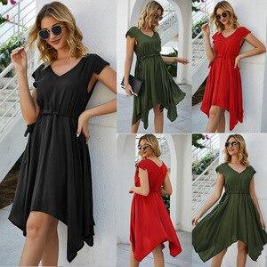 Dresses Beach Tunic Women Summer Dress Boho Short Dress Women's 2020 Neck Irregular Short Party Dress  Print Cotton Polyester