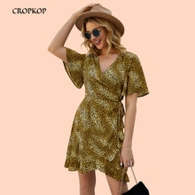 Leopardo volantes irregulares Mini Vestido de las mujeres 2020 Primavera Verano V cuello vestidos Vintage de manga corta de las señoras Sundress Vestido femenino