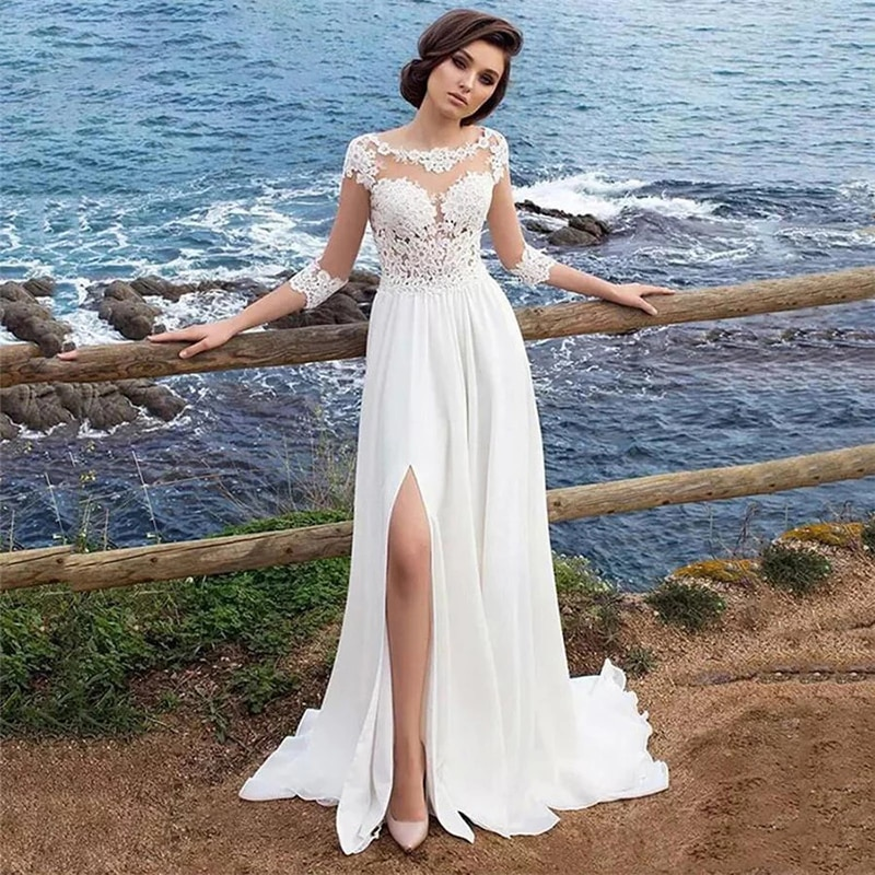 Review Luxury A-Line Wedding Dresses Chiffon O Neck Lace Applique Gowns Three Quarter Sleeve Sexy High Split vestido de novia