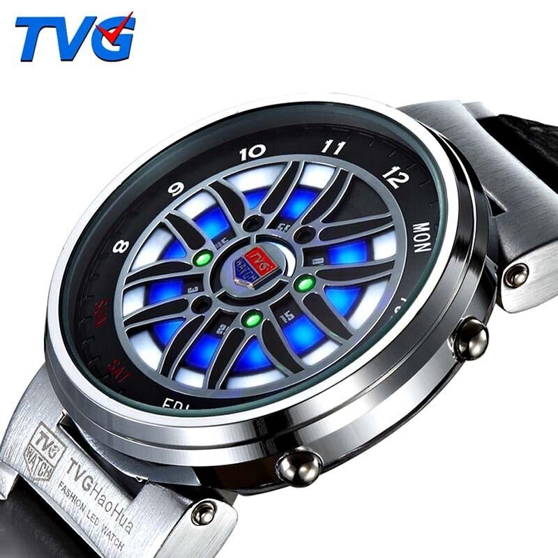 TVG الرجال الساعات الإبداعية تصميم سيارة عجلة Led Disply التناظرية الرقمية الساعات الرجال الرياضة الساعات 30M للماء montre أوم