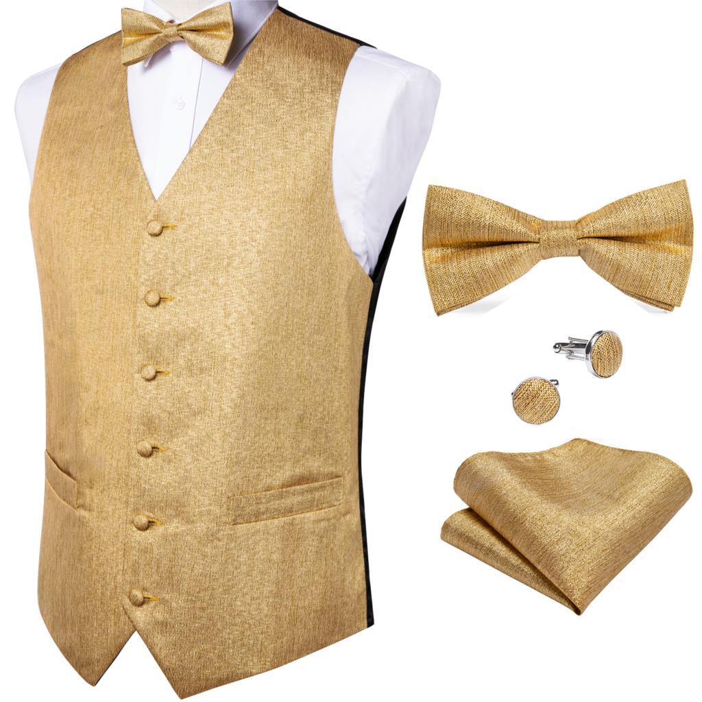 Новый Модный золотой однотонный Шелковый жилет, мужской классический жилет, жаккардовый жилет для вечеринки, свадьбы, вечеринки, набор запо...