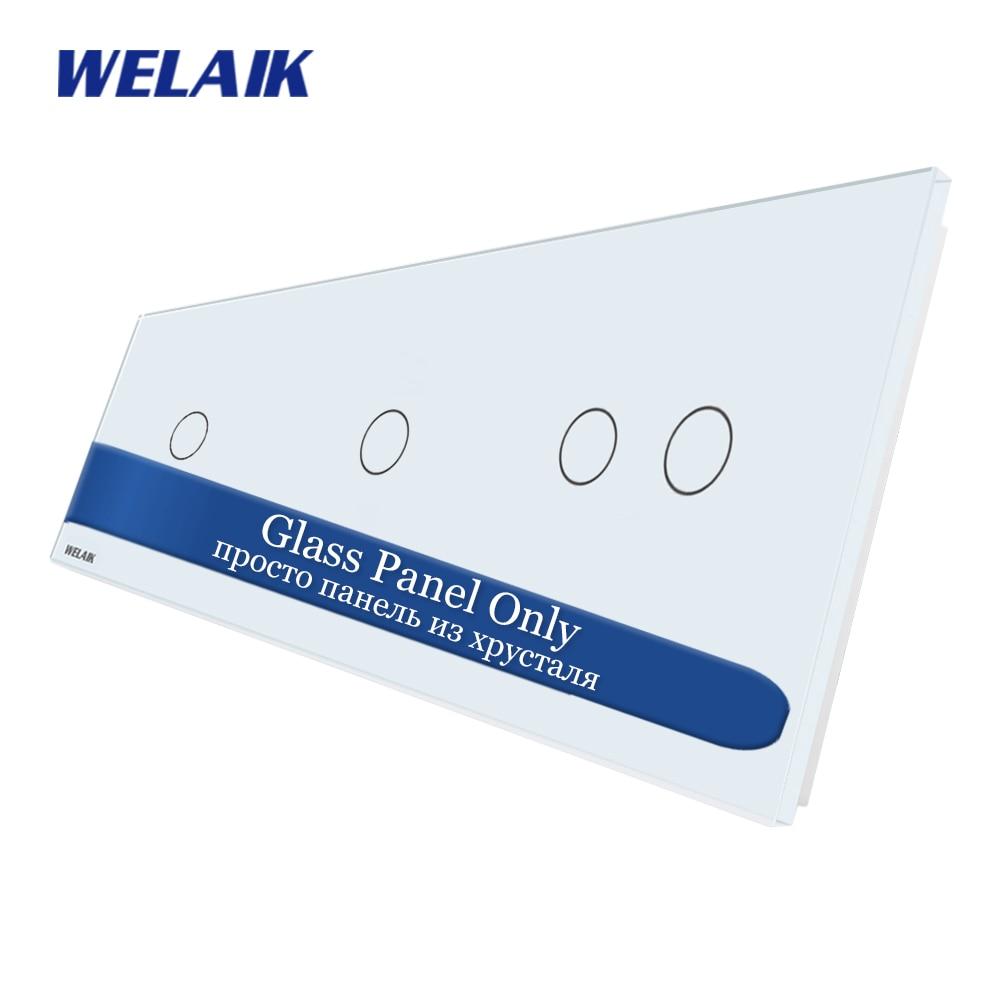 WELAIK EU Touch-Switch DIY-piezas-Panel de cristal-solo pared-interruptor de luz-cristal-Panel 1Gang + 1 + 2Gang A39112W/B1