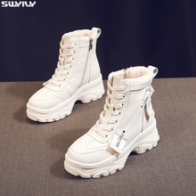SWYIVY-bottines blanches, chaussures en velours compensées pour femmes, chaussures dhiver, à plateforme, 2019
