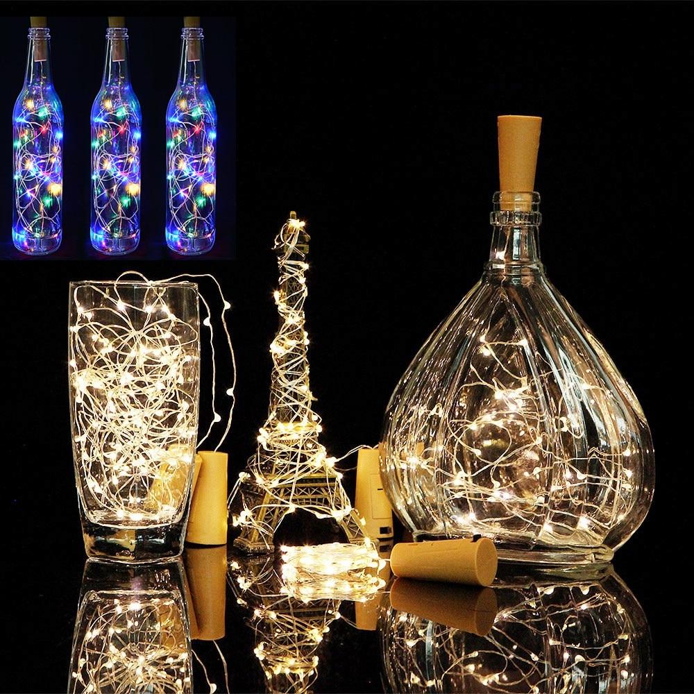 1M 2M alambre de cobre luces de hadas guirnalda tapón de botella para artesanía de vidrio luces de cadena LED Navidad Año Nuevo decoración de vacaciones.