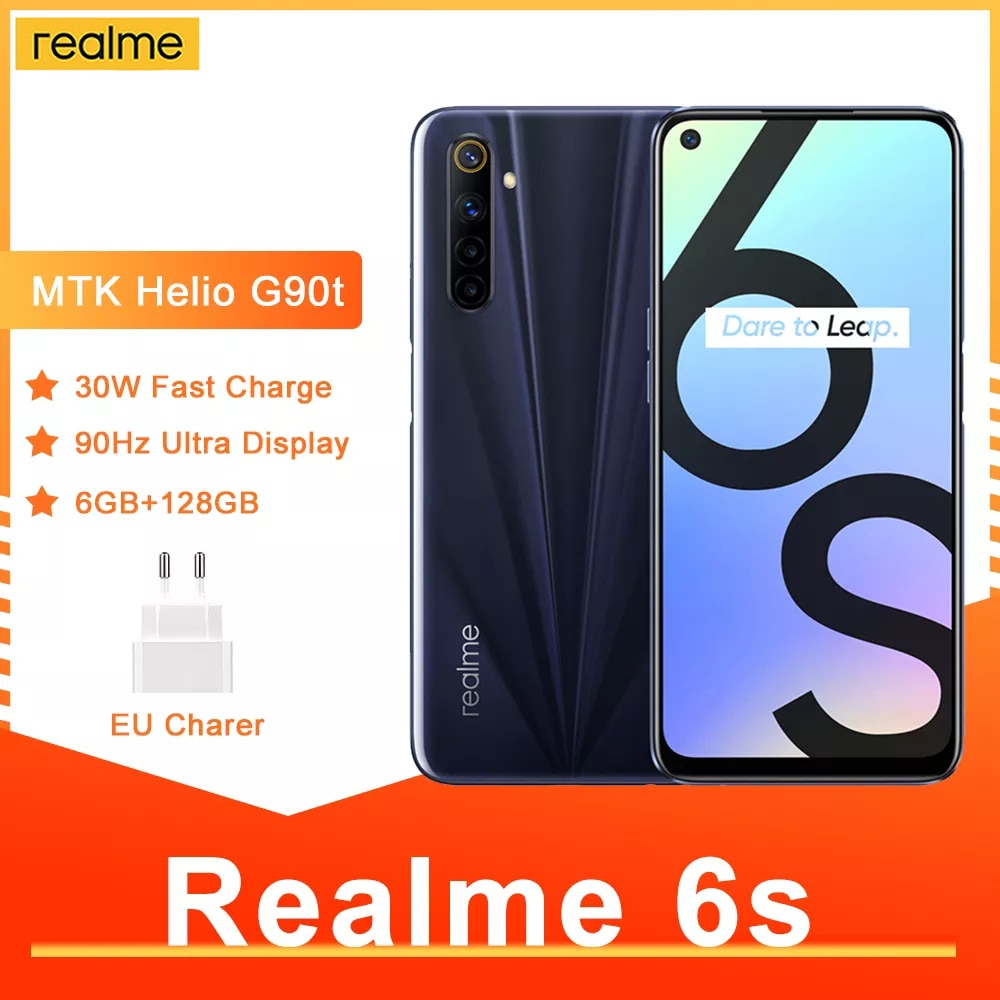 Перейти на Алиэкспресс и купить Смартфон Realme 6s, NFC, 90 Гц, 6,5 дюйма, FHD +, 48 МП, 4300 мА · ч, 30 Вт, 6 + 128 ГБ