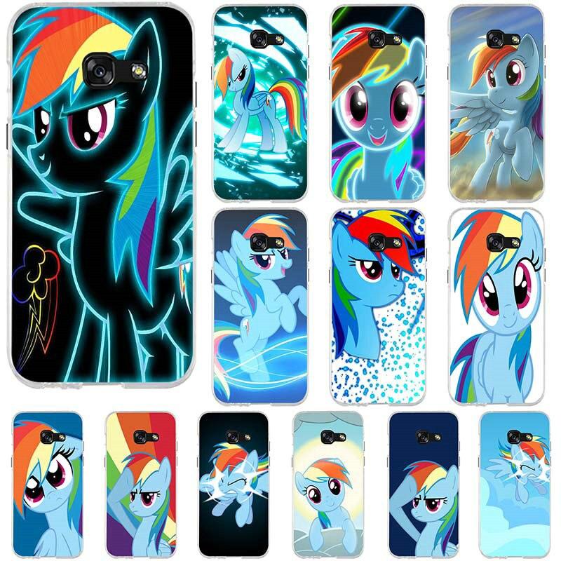 Fundas suaves de silicona para teléfono móvil de TPU para Samsung Galaxy A3 A5 A7 J5 J7 J3 2017 J1 2016 Coque Shell arco Iris mi pequeño Pony rosa