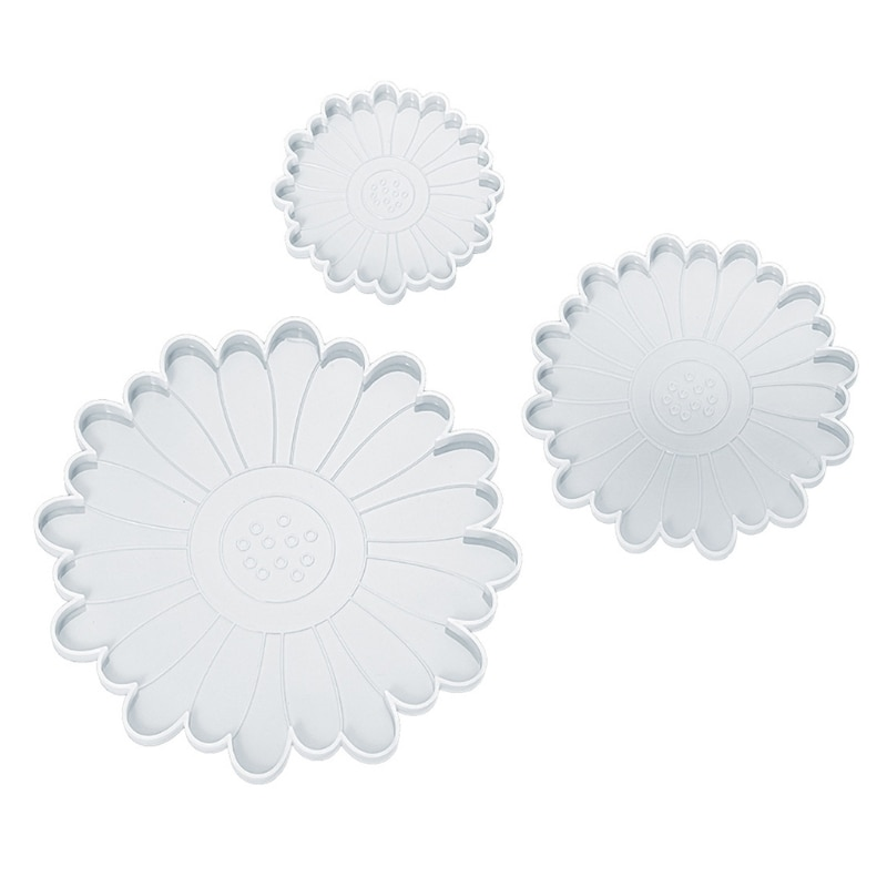 3 PCS Diy Crystal Flower Tea Tray Mold Flower-shaped Epoxy Resin Suitable for Home Decoration Table Wine