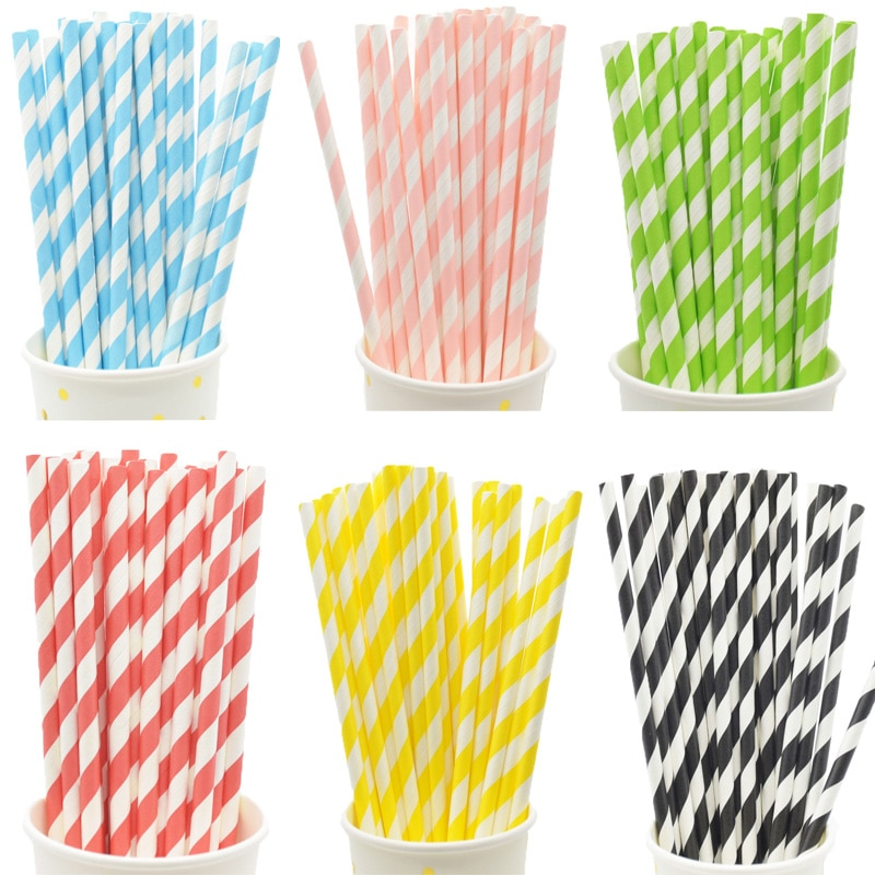 Biodegradable Stripes Paper Straws Pink Blue Yellow Stripes Drinking Straws Wedding Birthday Party D