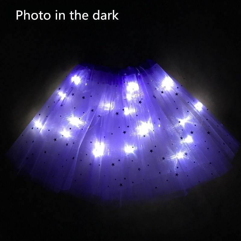 2020 new Light LED Girl Kids Clothes Star Tutu Skirt Princess Party Tutus Tulle Pettiskirt Child Ballet Dance Halloween purple