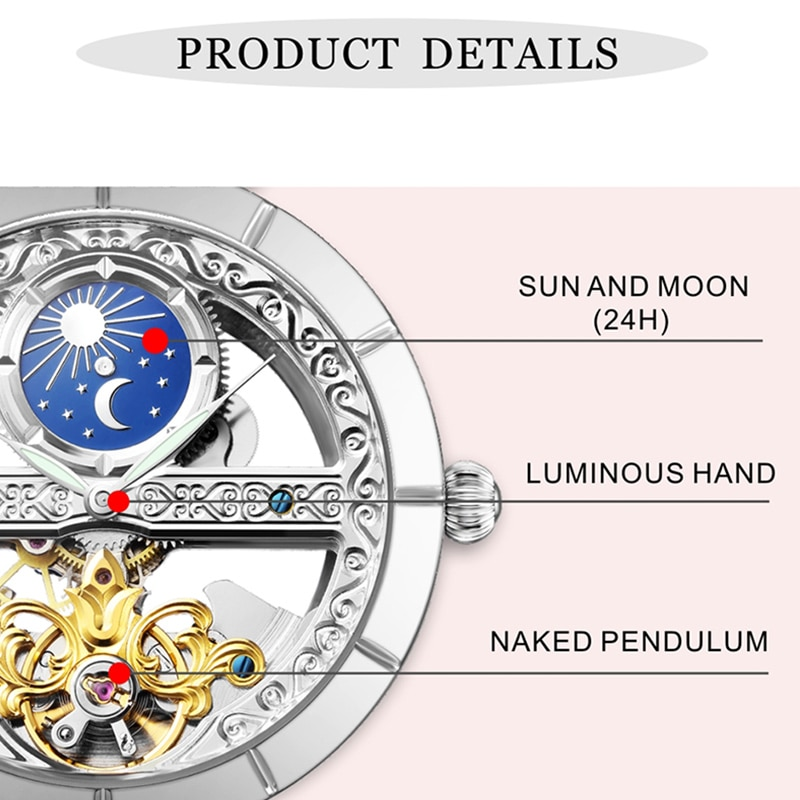 Luxury Women Mechanical Watches Fashion Top Brand Ladies Wristwatch Hollow Design Automatic Watch Montre Homme Girls Gift enlarge