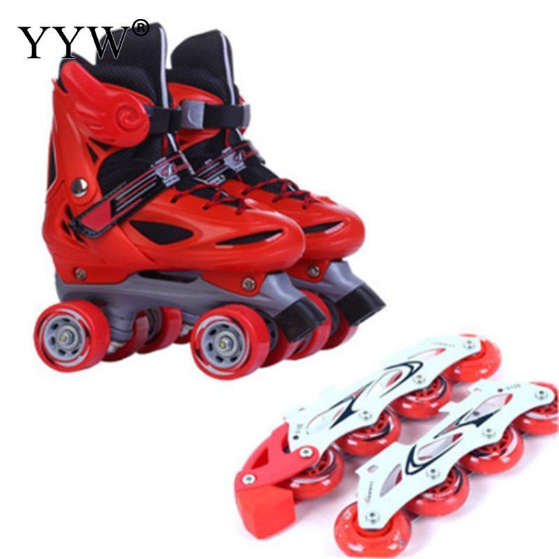 Сменные двухрядные роликовые коньки, подходят для замены, регулируемые роликовые коньки 2 в 1, коньки с 8 встроенными колесами