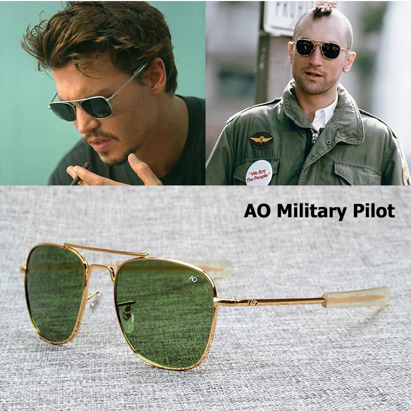 Hot Fashion Aviation Sunglasses Men Brand Designer American Army Military Optical AO Sun Glasses For
