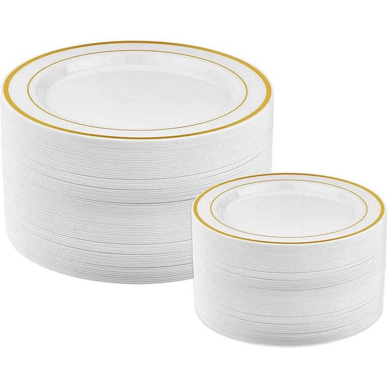 AC86-أطباق بلاستيكية ذهبية-25 أطباق عشاء و 25 أطباق سلطة أطباق بلاستيكية للحفلات أطباق بلاستيكية يمكن التخلص منها للحفلات
