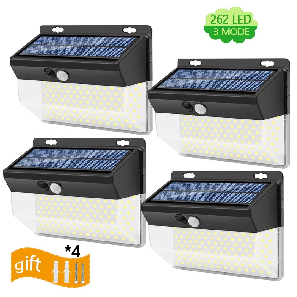262 LED Solar Motion Sensor Lights Outdoor Super Bright IP65 Waterproof Wall Lamp Sunlight Powered Garden Yard Front Door Decor