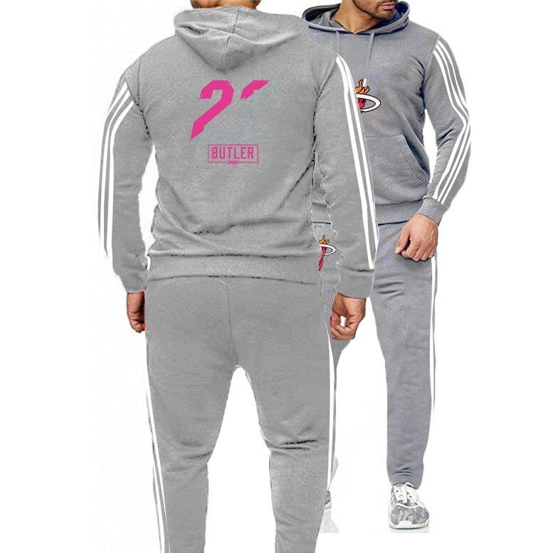 2021 كرة السلة الأمريكية جيرسي الملابس #22 جيمي بتلر تايلر هيرو ميامي الحرارة البلوز هوديس قطعتين مجموعة بدلة التدريب