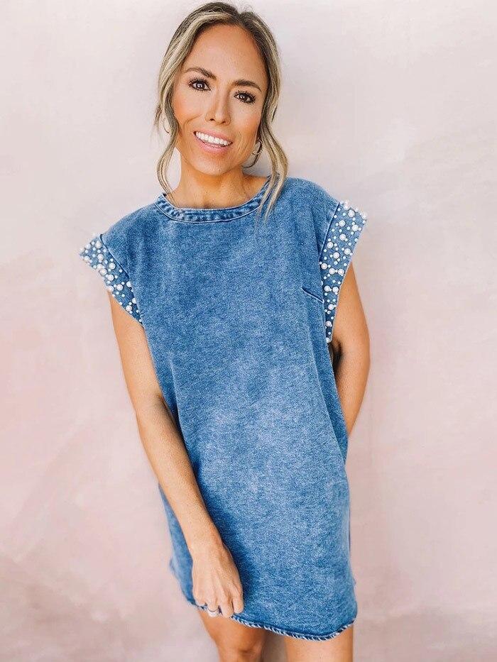 Vestido en tela vaquera para mujer 2021 perla cordón denim azul vestido...